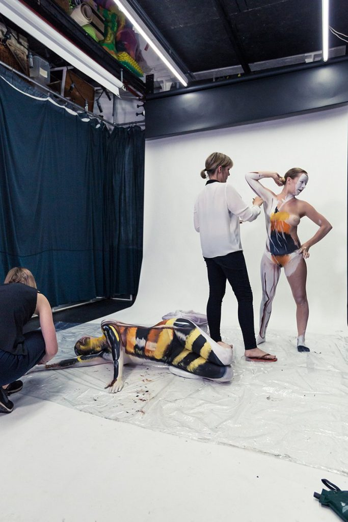 Behind the scenes of Rowse honey bee campaign contortionists body painted illusion
