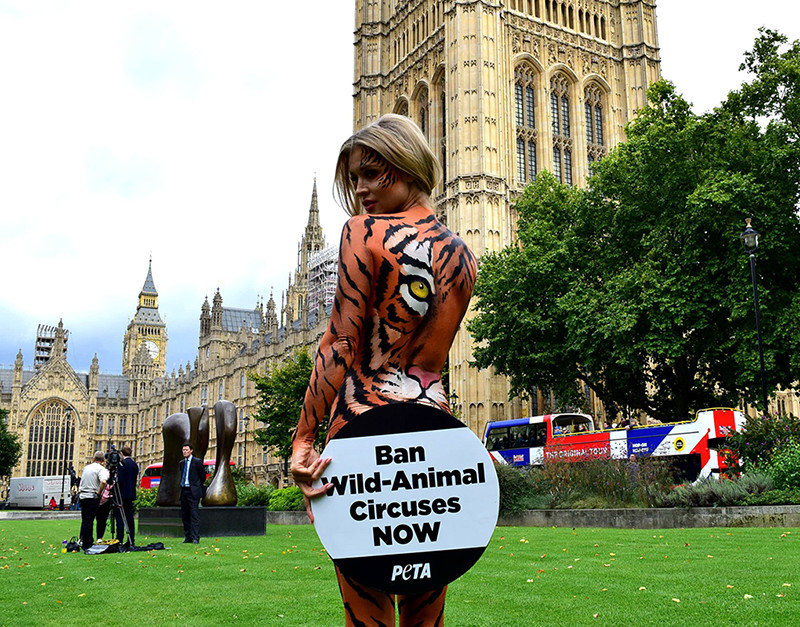 Joanna Krupa PETA body art tiger design, London, UK