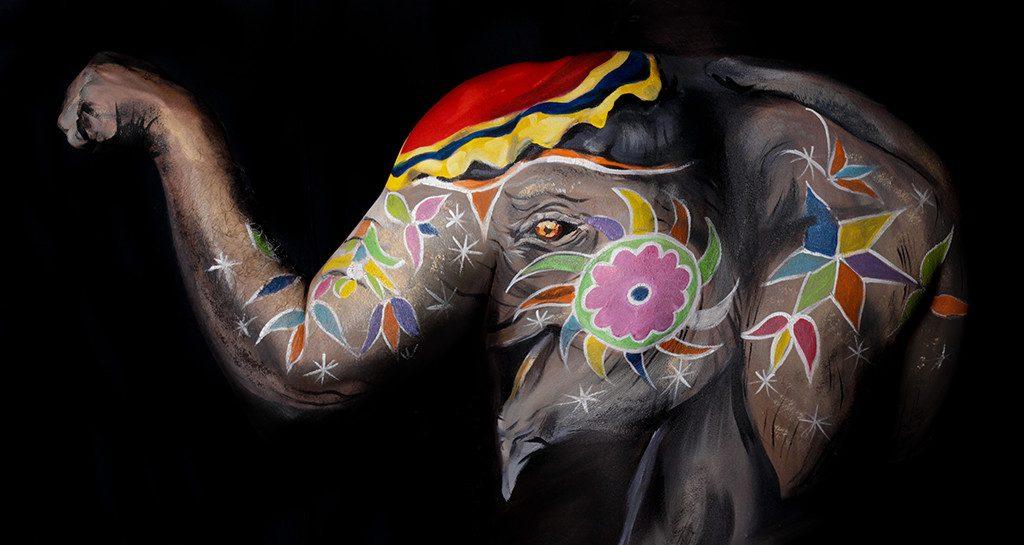 Mandala elephant, fine art on upper back