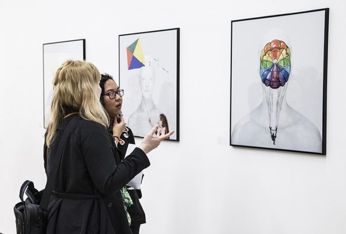 Image of 'Open Mind' is observed at the Portraits of the Mind exhibition